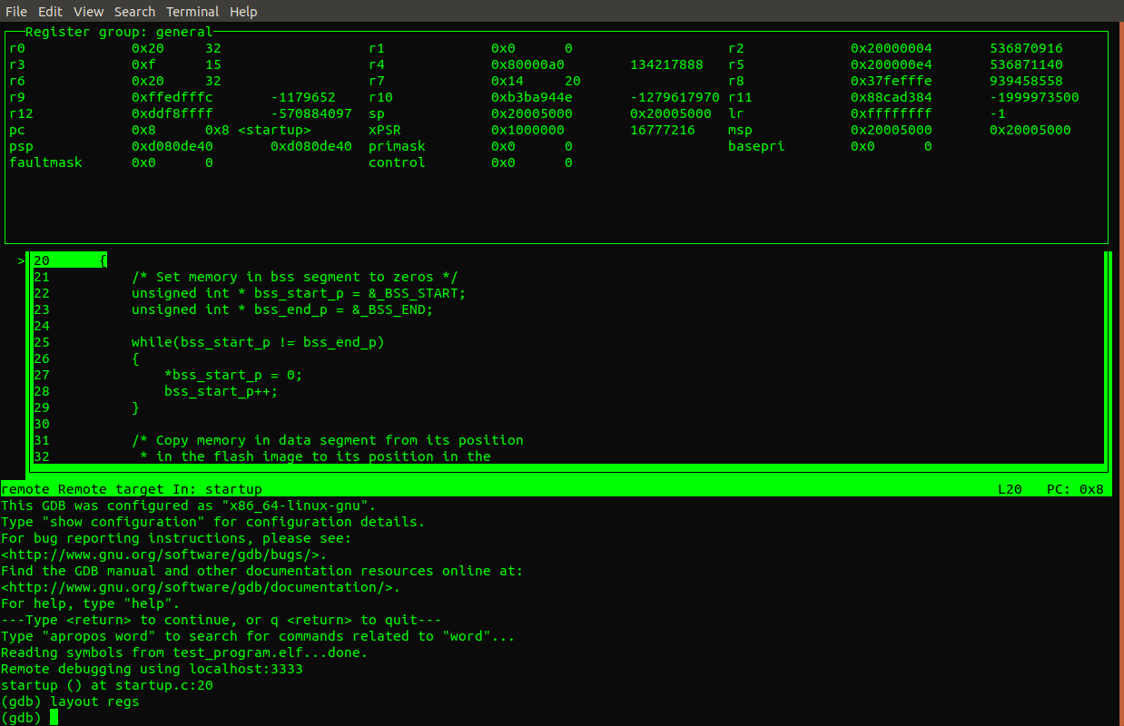 Run a C program bare metal on an ARM Cortex M3